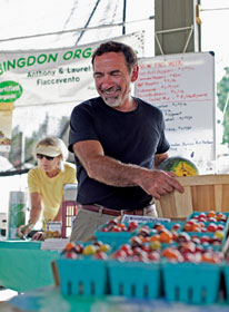 Anthony Flaccavento, founder of Appalachian Sustainable Development, sells his produce at the Abingdon Farmers Market in Abingdon, Va.   Photo courtesy of Bread for the World/Laura Elizabeth Pohl.