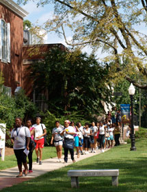 Students walk across the campus of Bennett College for Women in Greensboro, N.C. Photo courtesy of Bennett College for Women.