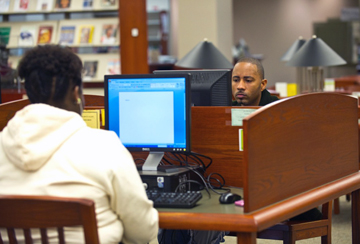 Students work on computers in the library at Philander Smith College.