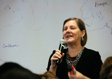 Carol Barton of United Methodist Women moderates a March 1 discussion about migration and rural women at the Church Center for the United Nations.