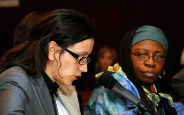 Eli Gashi of Kosovo, left, and Beatrice Fofanah of Sierra Leone were among the grassroots women sharing their experiences at the 56th U.N. Commission on the Status of Women meeting.