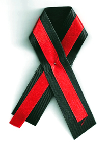 Ribbons of red and black - the school colors - showed support for students at Chardon High School in Ohio and their families. A web-only photo by Richard K. Wolcott, Jr.