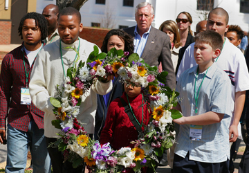 Children lay a wreath at the Civil Rights Memorial in Montgomery during the annual congressional civil rights pilgrimage to Alabama. A UMNS 2009 file photo by Kathy Gilbert.