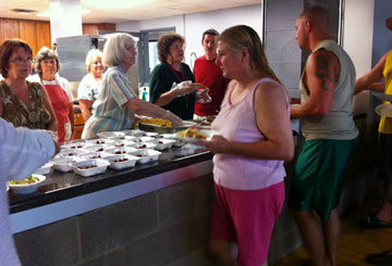 Aldersgate United Methodist Church, Sissonville, W. Va., has served three meals a day since violent storms struck the area on June 29.  Photo courtesy of the West Virginia Annual Conference.