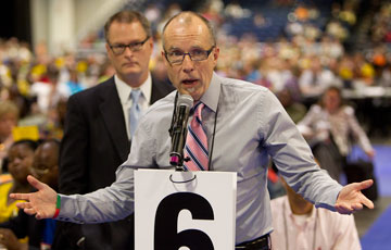 The Rev. Mike Slaughter (front) and the Rev. Adam Hamilton speak in favor of legislation that would have acknowledged that United Methodists disagree on issues of sexuality during the denomination's 2012 General Conference in Tampa, Fla. A UMNS photo by Mike DuBose.