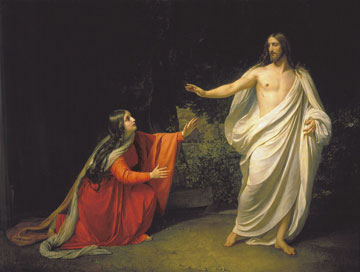 Christ appears to Mary Magdalene in this 1834 oil painting by Ivanov Alexander Andreevich located in The Russian Museum in St. Petersburg. A web-only public domain image.
