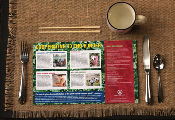 Church World Service invites people to order free placemats to raise awareness on ending world hunger. A UMNS photo illustration by Kathleen Barry.