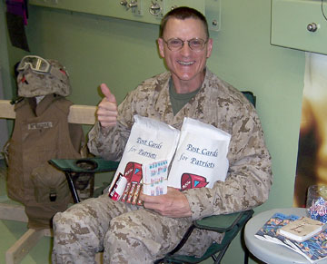 Chaplain Ron Newhouse from New Covenant United Methodist Church, Edmond, Okla., coordinates care packages from his tent in Iraq. A UMNS 2006 file photo courtesy of Ron Newhouse.
