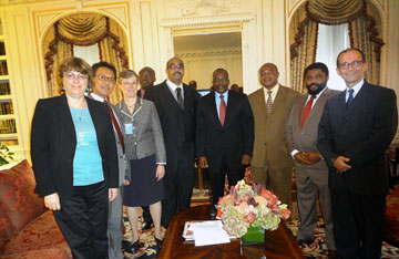 United Methodist representatives met Sept. 27 in New York with DRC President Joseph Kabila, fourth from right . Photo courtesy of Tatiana Dwyer, UMW.
