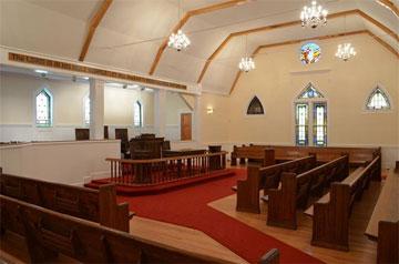The church interior awaits a final inspection and a dedication.