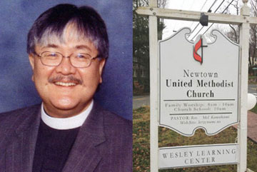 The Rev. Mel Kawakami, pastor of Newtown United Methodist Church.  A web-only composite. Photos courtesy of Newtown United Methodist Church and by Arthur McClanahan.