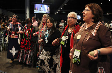 The Rev. Carol Lakota Eastin, far right, and others of Native American heritage take part in An Act of Repentance toward Healing Relationships with Indigenous Peoples service, an initiative of the Commission on Christian Unity approved during the 2012 United Methodist General Conference in Tampa. A UMNS photo by Kathleen Barry.