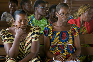 Women listen to a public health education lesson on AIDS at Jerusalem Parish United Methodist Church in Yamoussoukro, Cote d'Ivoire, in November 2008.
