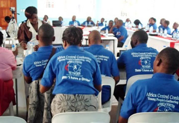 Young people attend a session at the Africa Central Conference Youth Network Gathering in April 2013. A UMNS web-only photo by Taurai Emmanuel Maforo.