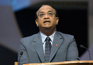 Bishop Sudarshana Devadhar addresses the 2008 United Methodist General Conference in Fort Worth, Texas. Devadhar said in a letter to the New England Annual (regional) Conference following the bombing at the Boston Marathon that the