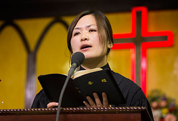 Pastor Liu Yan gives the sermon at Chongwenmen Church in Beijing, China.