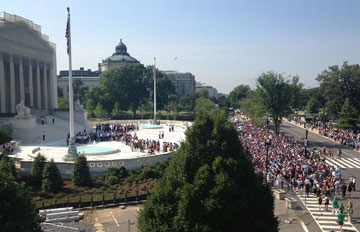 Crowds gather outside the Supreme Court building in Washington to hear decisions on DOMA and California's Proposition 8. A web-only photo <strong>by Michelle Whittaker of the United  Methodist  </strong>of the General Board of Church and Society.