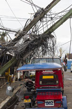 Much of the existing telecommunications infrastructure in Tacloban, Philippines was shredded by Typhoon Haiyan. A UMNS photo by Mike DuBose.