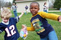 Two boys enjoy an Easter egg hunt at Calvary United Methodist Church, Holly, Mich. Photo courtesy Calvary United Methodist Church.