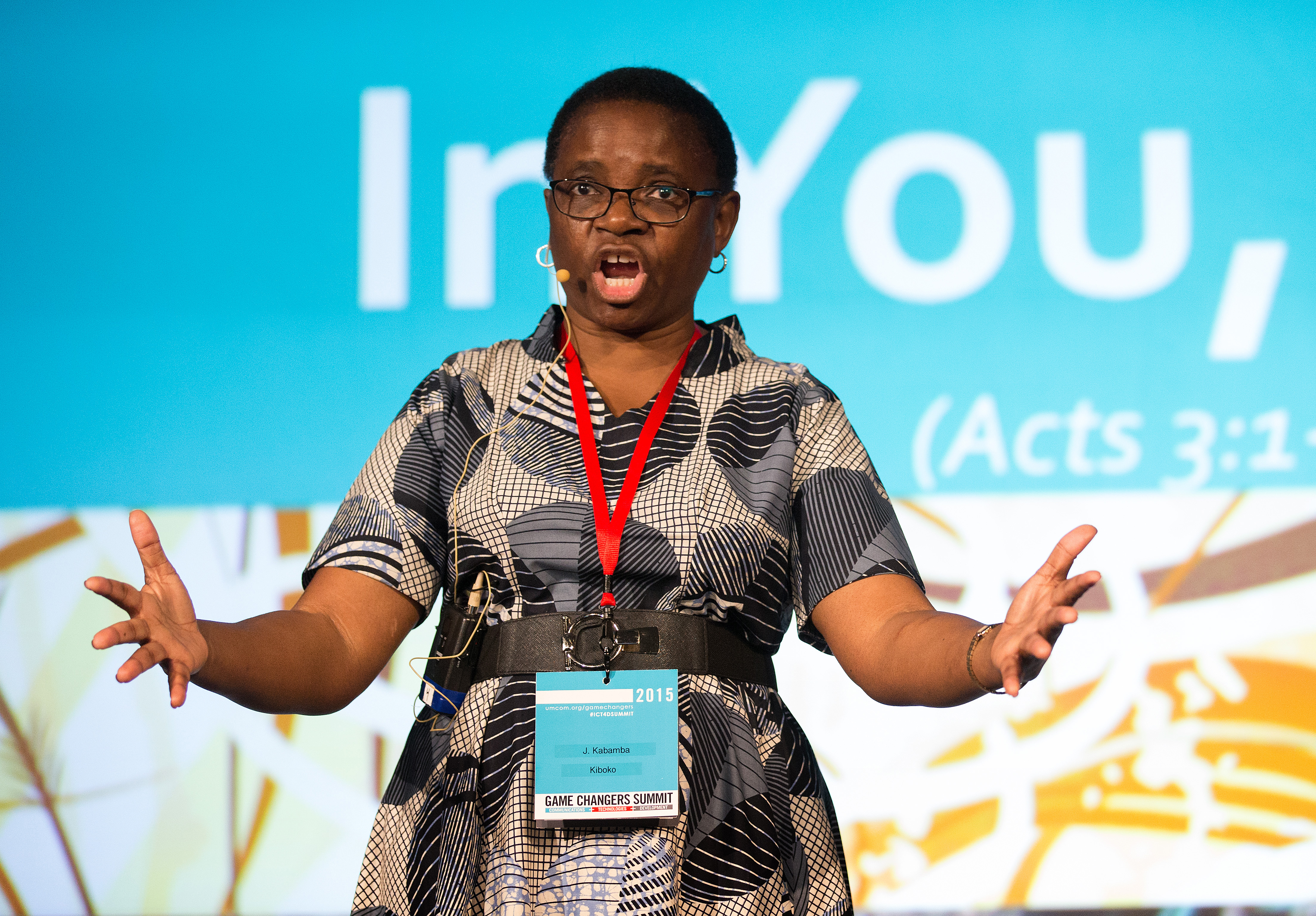 The Rev. J. Kabamba Kiboko, Vano Kiboko's sister, gives the sermon during morning worship at the United Methodist Communications Game Changers Summit in Nashville, Tenn. Photo by Mike DuBose, UMNS