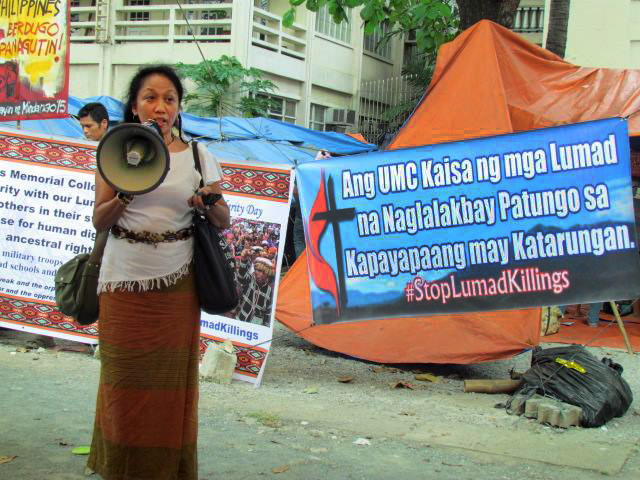Noma P. Dollaga, a United Methodist deaconess, expresses solidarity with the Lumads. Photo courtesy of Tentang P. Dollaga