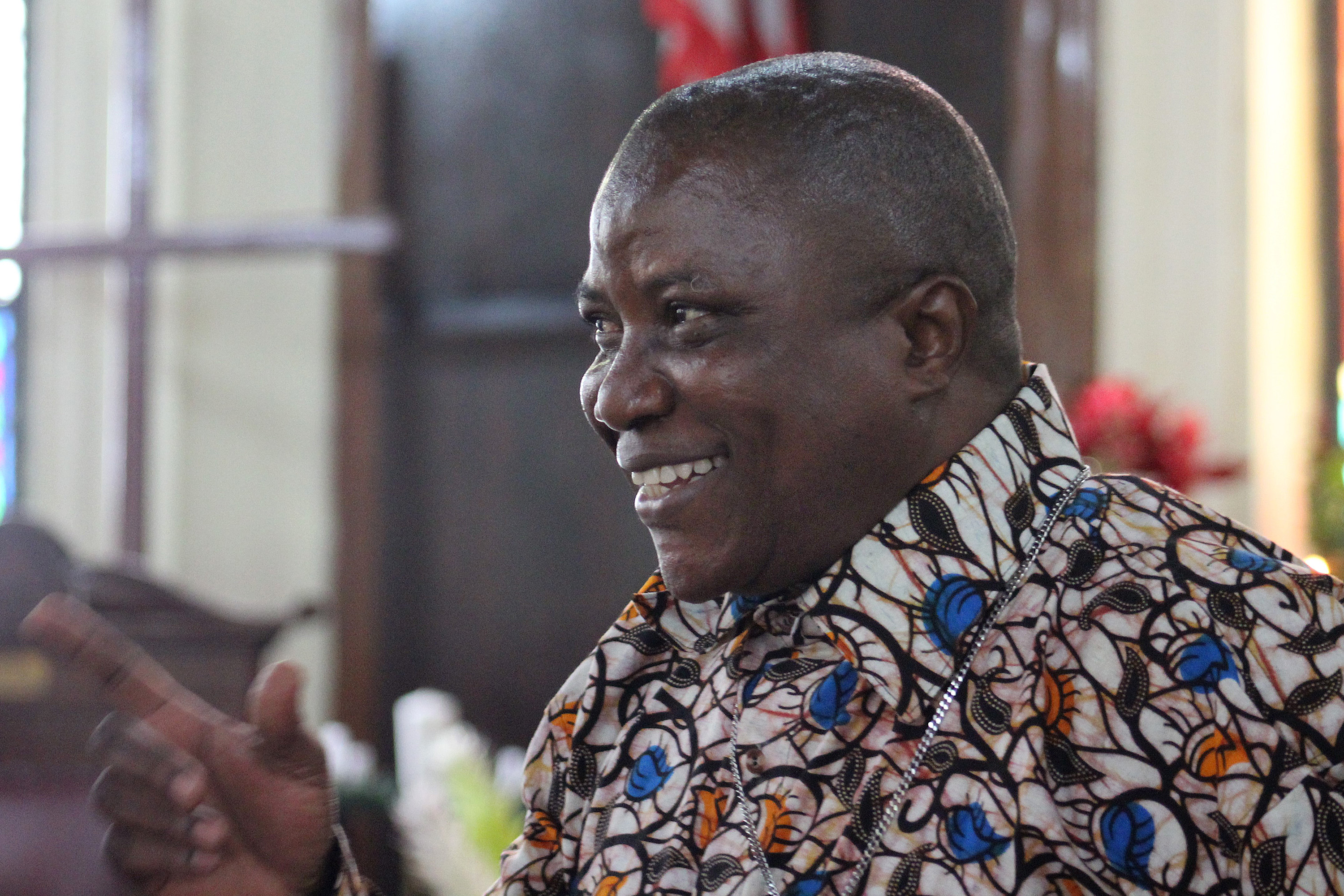 Bishop Samuel J. Quire Jr. at a program marking his first anniversary as bishop of the United Methodist Church for the Liberia area at First United Methodist Church in Monrovia, Dec. 31. Photo by Julu Swen, UMNS.
