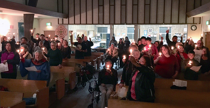 Wilshire United Methodist Native American Fellowship celebrate Christmas Eve services.