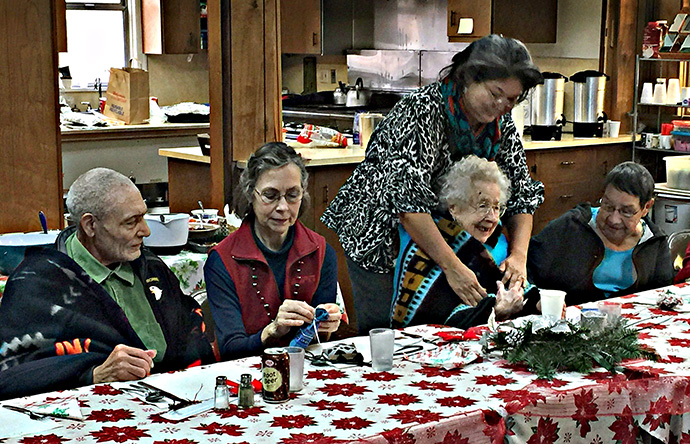Members of Wishire United Methodist Native American Fellowship honor elders during a luncheon.