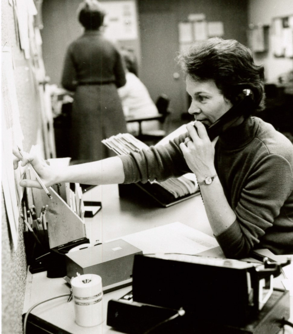 Long-time InfoServant Woodley McEachern works at her desk in 1978. Photo courtesy of United Methodist Communications. InfoServ began in 1974.