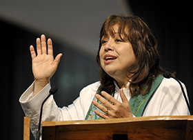 Phoenix Area Bishop Minerva G. Carcaño preaches during morning worship on April 27 at the 2008 United Methodist General Conference in Fort Worth, Texas. Photo by Paul Jeffrey, UMNS.