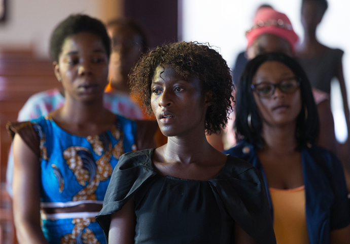 Participants in a young women's Bible study sing during class at Nazareth United Methodist Church. Photo by Mike DuBose, UMNS.