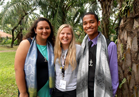 Delegates to the Global Young People's Convocation find rewards in the Philippines, despite disruptions from a typhoon. From left to right, Paola Ferro, Katie Rasmussen and Edward White, all from the Florida Conference. Photos from Rich Rasmussen. Courtesy of the Florida Annual Conference.