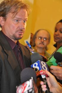 Frank Schaefer talks to press after hearing. Photo by Melissa Lauber, Baltimore-Washington Conference