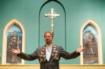 "The Rev. Frank Schaefer speaks about his book, ""Defrocked,"" at St. Ann's Episcopal Church in Nashville, Tennessee, one day after his Judicial Council hearing in Memphis, Tenn."