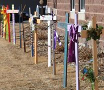 Forty crosses line the front of Aberdeen First United Methodist Church.  As you walk along the sidewalk by the crosses you can see the passion, sacrifice, and resurrection of Christ symbolized in art. Photo courtesy of Aberdeen First United Methodist Church.