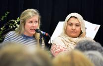 Amy Laura Hall of Duke Divinity, and Dr. Sameera Ahmad, a physician from near Asheville, N.C., participate in a panel discussion with a Muslim physician on the issues of women and health care at the sixth annual Peace Conference held March 27-30 at Lake Junaluska. Photo by Michael Rich.