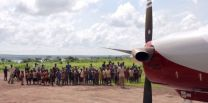 A Wings of the Morning Aviation Ministries airplane on a runway in Kabulo, DRC.