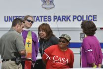 United Methodist Bishop Minerva Carcaño is arrested along with other faith leaders protesting the daily deportation of 1,100 people by the Obama Administration.