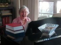 Jane Marshall, hymn composer, plays piano. Photo by Sam Hodges, UMNS