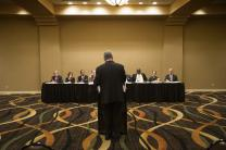 The Rev. Robert Zilhaver of the Western Pennsylvania Conference speaks during an oral hearing Oct. 22 before the United Methodist Judicial Council in Memphis, Tenn. The hearing was related to a petition from the conference on guidelines for the review and dismissal of a complaint against a bishop. Photo by Mike DuBose, UMNS.