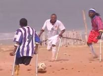 Amputees play soccer in Sierra Leone where an UMCOR clinic makes prosthetic limbs for war amputees.