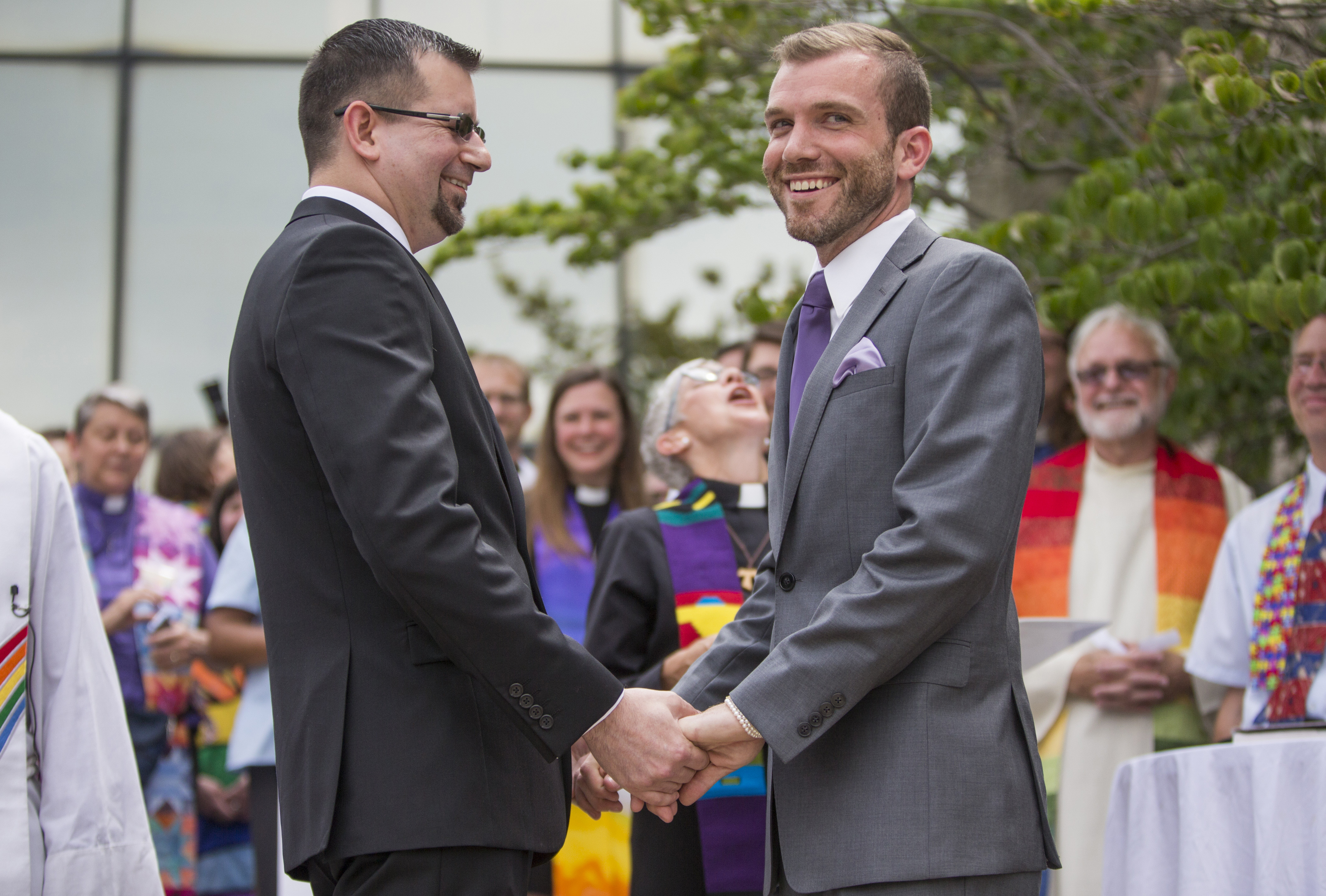 The Rev. Benjamin David Hutchison, right, marries long-time partner Monty Hutchison on Friday, July 17, 2015, outside the Cass County Courthouse. Photo by Robert Franklin, courtesy of South Bend Tribune
