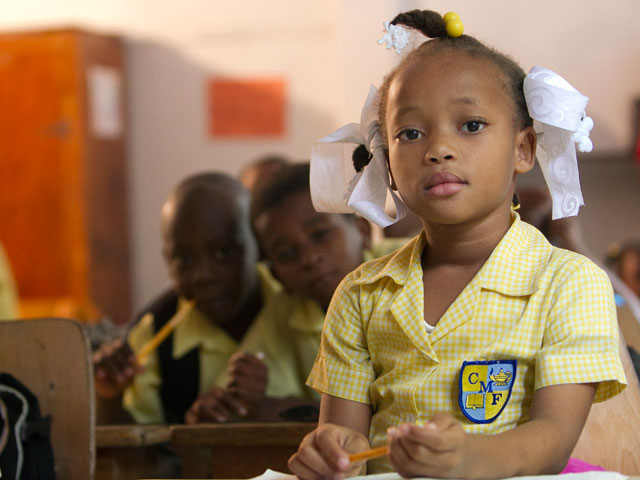 Students were able to return to their classrooms at the Methodist Church's Freres School in Port-au-Prince, some nine months after the earthquake.