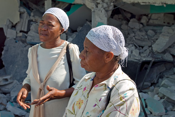 Lucienne Bazile (left) and Noel Zierne were attending choir practice at St. Martin Methodist Church in Port-au-Prince, Haiti, when the earthquake struck. Three other choir members were killed in the collapsed building. A UMNS photo by Mike DuBose.