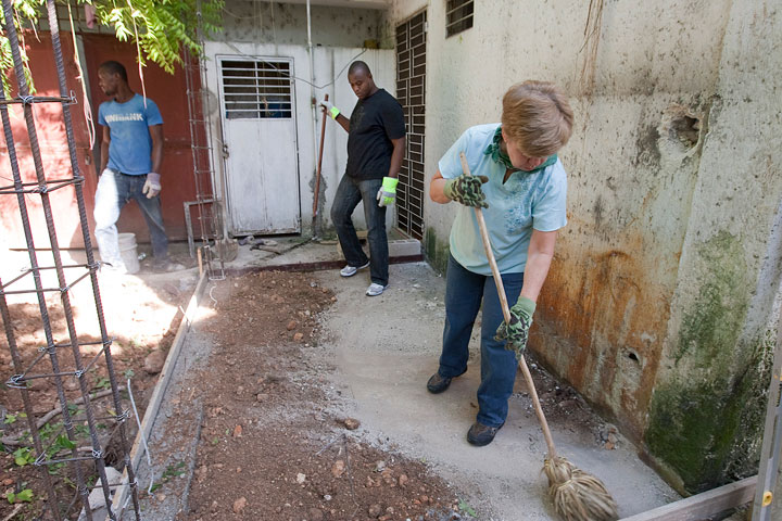 The Rev. Val Garron (right) of St. Paul United Methodist Church in Thorofare, N.J., volunteers with Haitians Jusner Mondesi (left) and Desir Jean Clairsant in Port-au-Prince, Haiti.