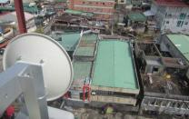 An Inveneo-installed wireless networking dish provides connectivity to a NetHope member non-governmental organization in Tacloban.  Photo courtesy of Inveneo.