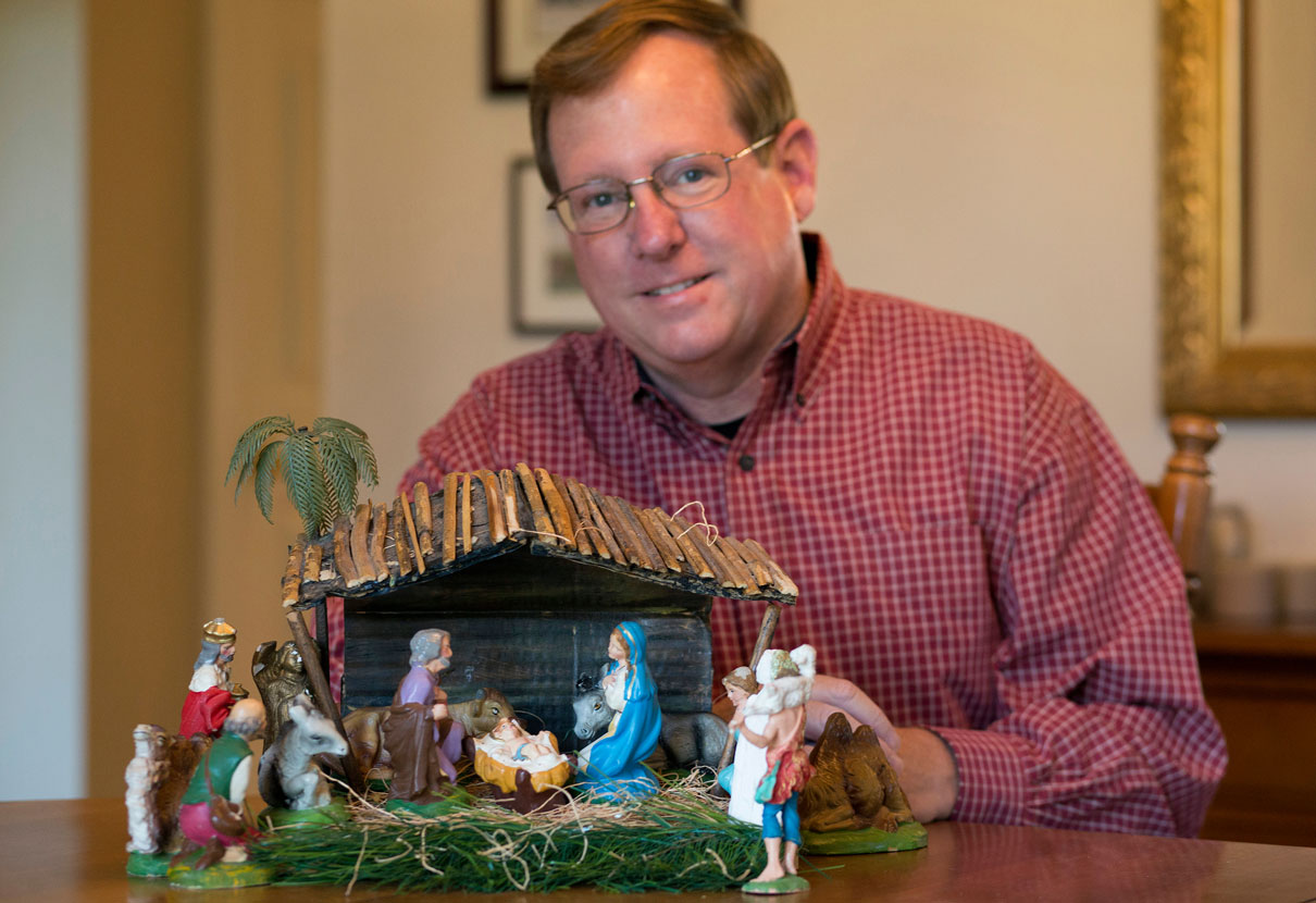 Gilbert Lovell and his nativity scene.