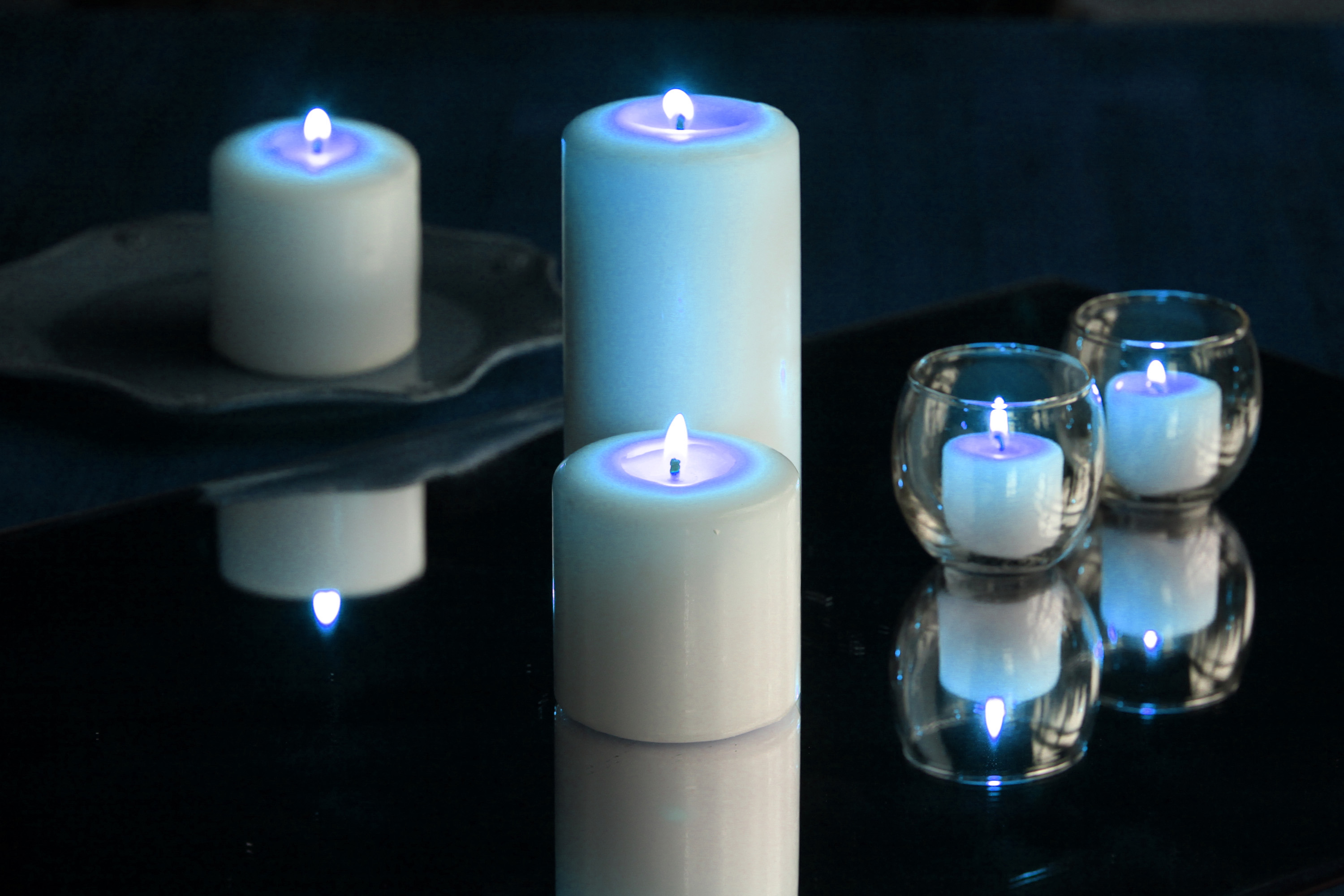 Candles with blue hue