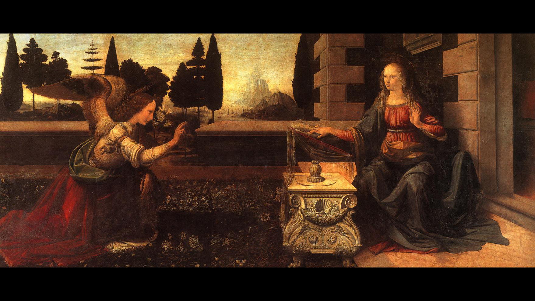 an interpretation of leonardo da vincis painting annunciation 318 results  reproduction oil paintings - leonardo da vinci - annunciation (detail 3) 1472-75  different sizes from $29199 annunciation (detail 3) 1472-75 by.