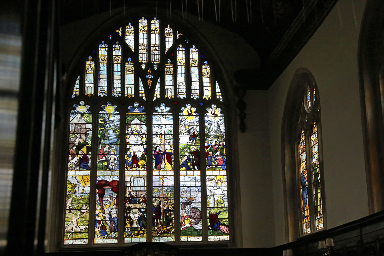 The stained glass windows at Lincoln College.